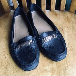 Coach Olive black pebbled leather loafers